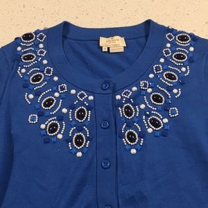 Kate Spade live colourfully blue beaded cardigan M